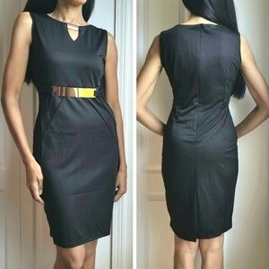 Black Sheath Dress with Gold-Tone Accents Career